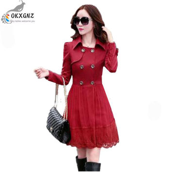 OKXGNZ 2017 New Fall Fashion Leisure Women Coat Elegant Pure Color Splicing Bud silk Trench coat Medium long Women Coat QQ045
