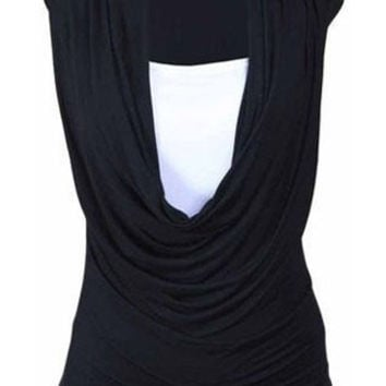Solid Color Cowl Neck Sleeveless Top