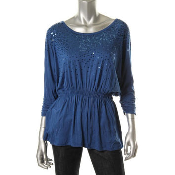 Grace Elements Womens Sequined Scoop Neck Pullover Top