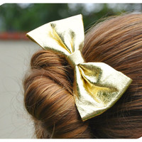 Metallic Gold Leather Bow Hair Clip