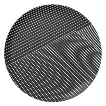 Line art - geometric illusion, abstract stripes bw melamine plate