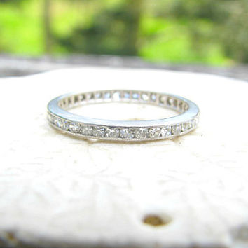 Platinum Diamond Eternity Band, Sparkling Full Eternity Diamond Ring, Lovely Wedding Band or Stacking Ring, Circa 1930's Art Deco