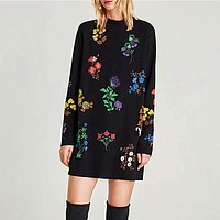 Women Round Neck Long Sleeve Multicolor Flower Print Loose Middle Long Section Sweater Dress