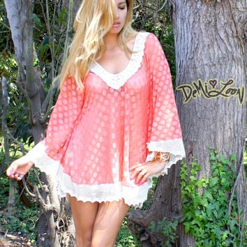 Demi Loon Coral Crochet Lace Hippie Tunic Blouse Caftan Dress Top
