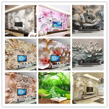 beibehang Custom wallpaper beautiful 3d photo mural HD original luxury 3D jewelry flower TV background wallpaper Original Image