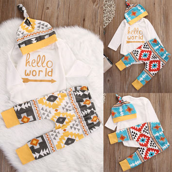 Newborn Baby Boy Girl Hello World Tops Romper Long Sleeve + Pants + Hat Colorful Outfits Set Boys Girls Clothes