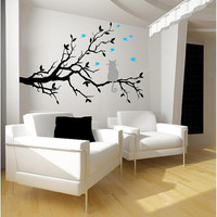 Cat on a tree branch- birds Vinyl Lettering  animal Decal wall words graphics Home decor bedroom  itswritteninvinyl