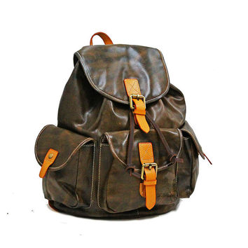 "15"" Vintage Leather Backpack Mens Backpack Womens Rucksack Cowhide Leather Brown Unisex Ipad Bag Handbags"