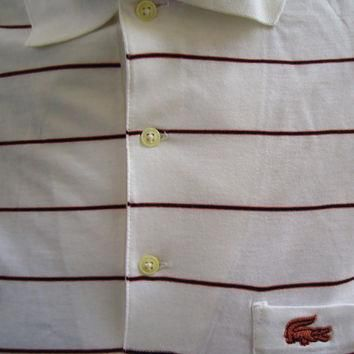 vintage DEADSTOCK Izod LACOSTE Striped White Polo Shirt NOS