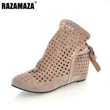 Women Boots Big Size 34-43 Gladiator Cutout Flat Round Toe Low Hidden Wedges Women's Summer Ankle boots Zapatos Fashion Cute Hot