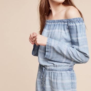 Striped Chambray Off-The-Shoulder Romper