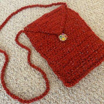Crochet Purse - Red Sparkle Bag with Long Crossbody Strap