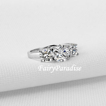 1.94 ctw 3 Stone Engagement Ring / Anniversary Ring / Promise Ring with a 1 ct center stone and two 0.47 ct Man Made Diamond, FairyParadise