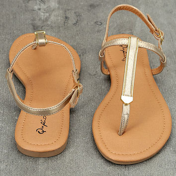 Cameron Gold Distressed Flat Sandals