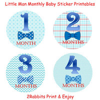 Little Man Themed Baby Shower- DIY Printable Monthly Baby Stickers- Baby Shower Gift - Instant Digital Printable -Blue Backgrounds Plus Bows