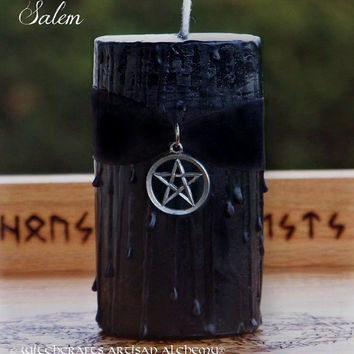 SALEM Witches Power Pentacle Black Velvet Pillar Candle w/ Gold Seal Dragon's Blood - Sacred Ritual, Protection, Dark Goddess Moon, Spells