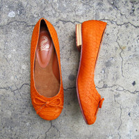 NEON FLATS - Neon Orange Python Snakeskin Leather Shoes Ballet Flats with Ribbon