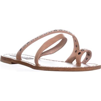 Steve Madden Becky Flat Toe Ring Sandals, Tan, 7 US