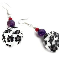 Flower Lentil Earrings, Red and Purple Earrings, Handmade Jewelry, Gift for Her