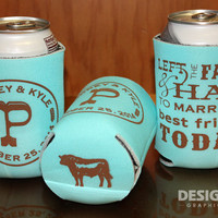 Left the Farm & Hay - Country Wedding Can Cooler