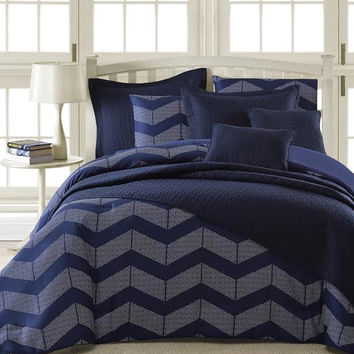 Spot Chevron 5-Piece Modern Down Alternative Comforter Set