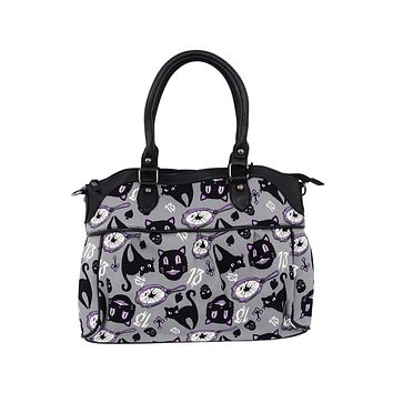 Lucky 13 Black Cats Broken Mirrors Shoulder Bag