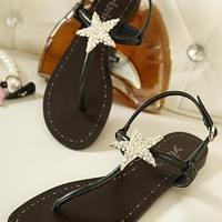 Cute Rhinestone Star Flat Sandals for Women Black from topsales