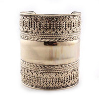 "2.90"" antique silver etched cuff bangle bracelet"