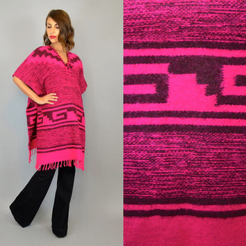 vtg 80's WOVEN MEXICAN boho geometric ethnic FRINGED poncho cape, one size fits all