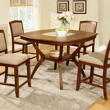 A.M.B. Furniture & Design :: Dining room furniture :: Counter Height dining sets :: 5 Pc. Redding II transitional style oak finish wood counter height dining table with a cracked glass insert and center lower shelf