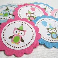 Owl with Party Hat, Balloon and Cupcake Tag for Favor Bag Label