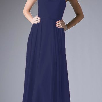 Navy Sleeveless Floor Length Formal Dress with Cowl Neck and Back