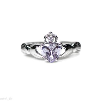 Sterling Silver Children's Small Lavender (June) CZ Heart Claddagh Ring
