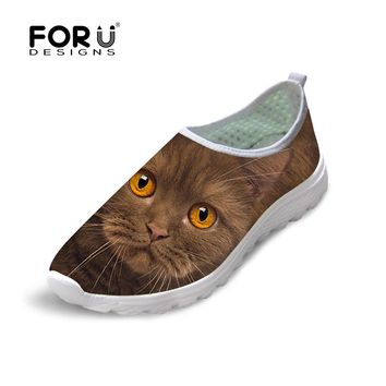 3D Cute Cat Themed Shoes Leisure Breathable Slip on Mesh Flats