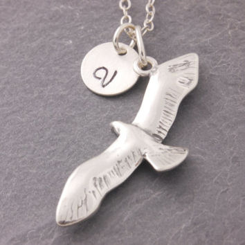 Seagull Necklace, sterling silver, silver bird necklace, seagull charm, flying seagull, initial necklace, personalized jewelry, holiday sale