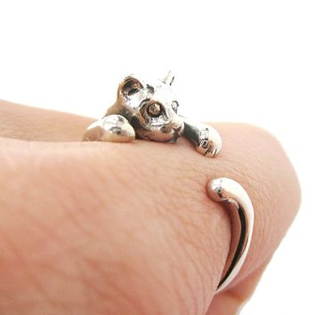 Realistic Kitty Cat Shaped Animal Wrap Around Ring in 925 Sterling Silver | US Sizes 3 to 8