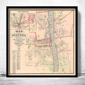 Old Map of Augusta City Maine Plan 1875 United States of America