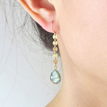 Gold Coin Gemstone Earrings