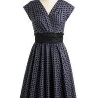 ModCloth 50s Long Cap Sleeves A-line Pretty on the Park Bench Dress in Dots