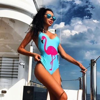 New Sexy Women One Piece Suits Swimsuit Flamingo Swimming Bathing Suits Swimwear Monokini Body Suit Swim Wear Bodysuit mayokini