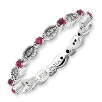 Sterling Silver Stackable Expressions Polished Ruby & Dia Ring