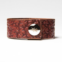 Chestnut Brown Leather Cuff  - Embossed with Thorns - Nickel Fasteners - 1 Inch Wide