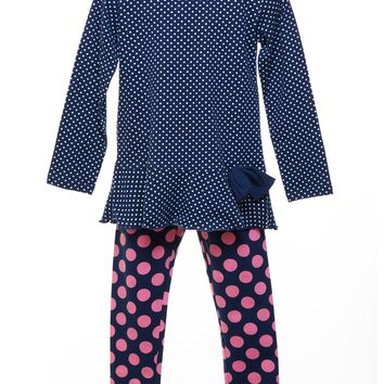Three Friends Navy Dot Tunic and Leggings