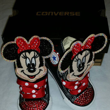 Girls Bling Custom Converse Sneakers- Minnie Mouse- Hello Kitty- 06da099f2c