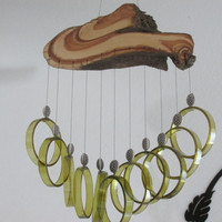 Recycled wine bottle wind chime, Juniper wood, Green  glass, Beads, circle glass windchime