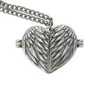 Supernatural Castiel Wings Heart Locket Necklace