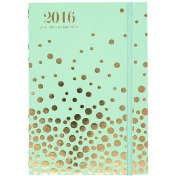 2015-2016 Paper Source Mint & Gold Foil Confetti Stitch-Bound Planner