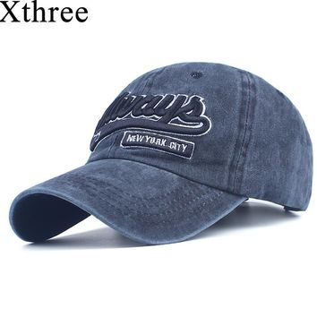 Xthree men baseball cap fitted cap cotton snapback hat for women gorras casual casquette embroidery letter cap retro cap