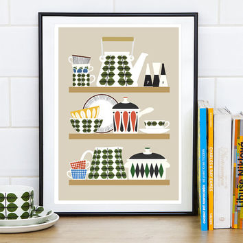 Retro kitchen print, Art for kitchen, Kitchenware print, Stig LIndberg poster, Mid century kitchen, vanilla kitchen decor, Kitchen poster,