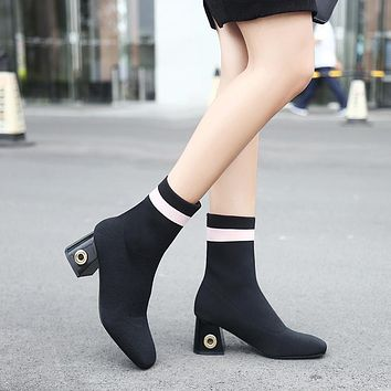 Suede Chunky Heel Square Toe Ankle Boots